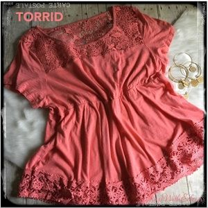 TORRID Salmon Lace Empire Baby Doll Top